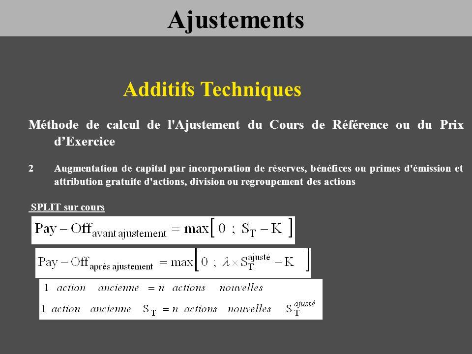 Additifs Techniques Méthode de calcul de l'Ajustement du Cours de Référence ou du Prix dExercice 2Augmentation de capital par incorporation de réserve