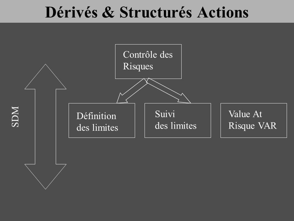 Contrôle des Risques Définition des limites Suivi des limites Value At Risque VAR SDM Dérivés & Structurés Actions