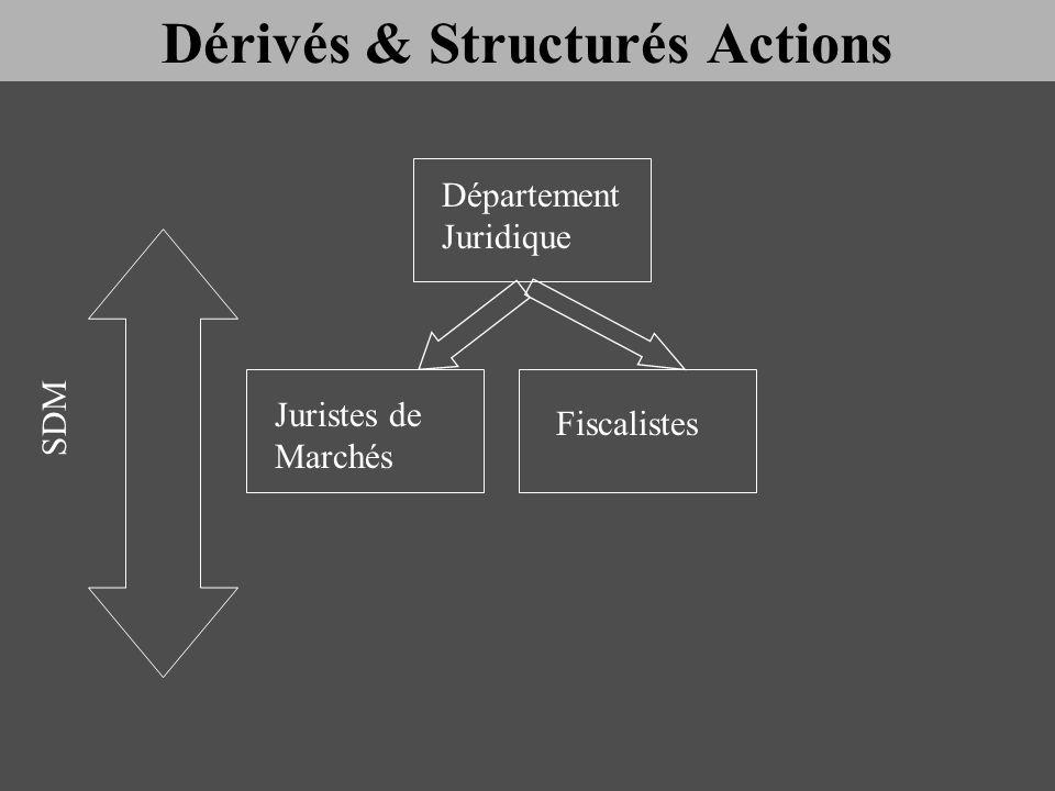 Département Juridique Juristes de Marchés Fiscalistes SDM Dérivés & Structurés Actions