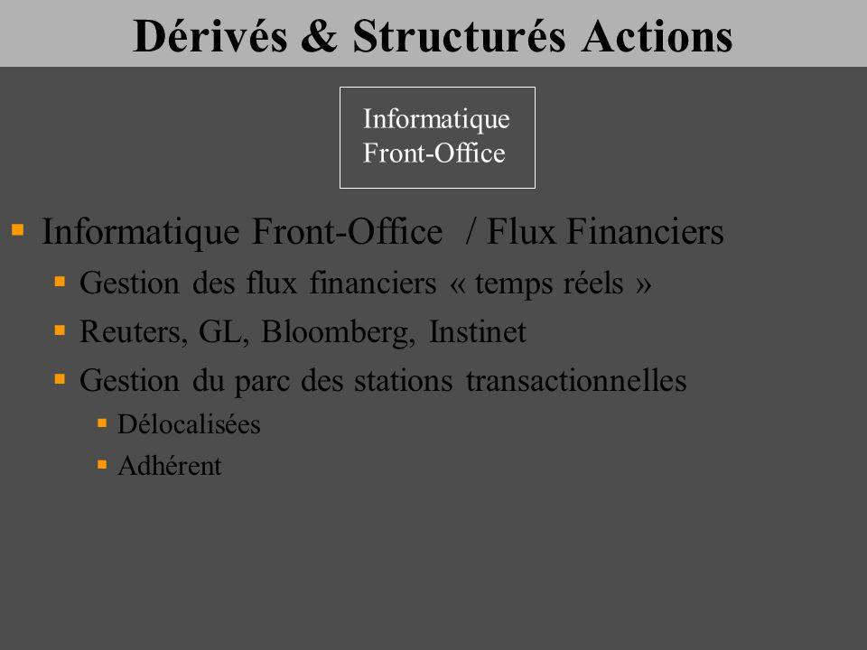 Dérivés & Structurés Actions Informatique Front-Office / Flux Financiers Gestion des flux financiers « temps réels » Reuters, GL, Bloomberg, Instinet