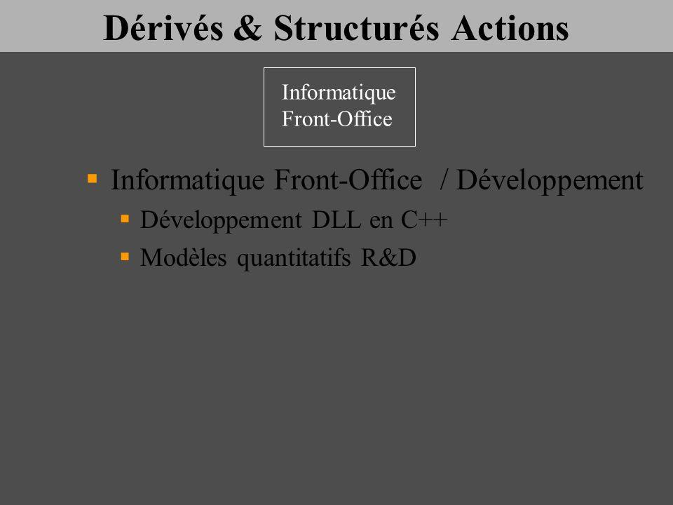 Dérivés & Structurés Actions Informatique Front-Office / Développement Développement DLL en C++ Modèles quantitatifs R&D Informatique Front-Office