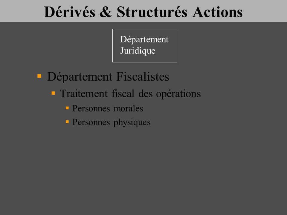 Dérivés & Structurés Actions Département Fiscalistes Traitement fiscal des opérations Personnes morales Personnes physiques Département Juridique