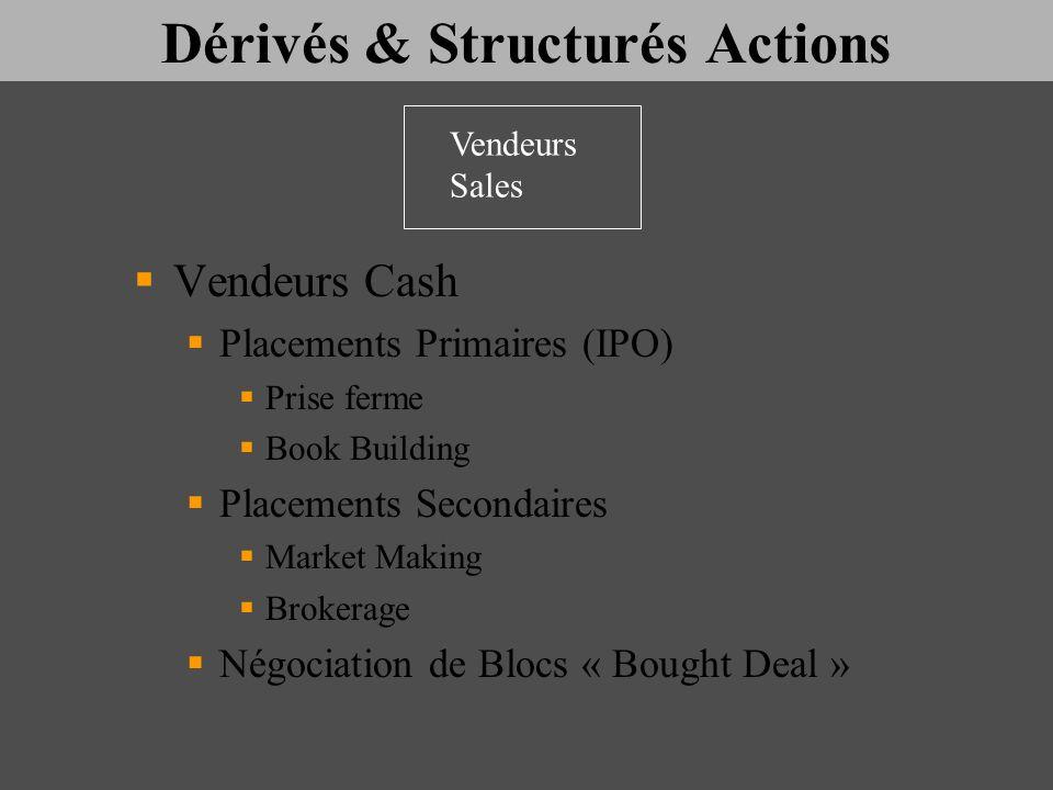Dérivés & Structurés Actions Vendeurs Cash Placements Primaires (IPO) Prise ferme Book Building Placements Secondaires Market Making Brokerage Négocia