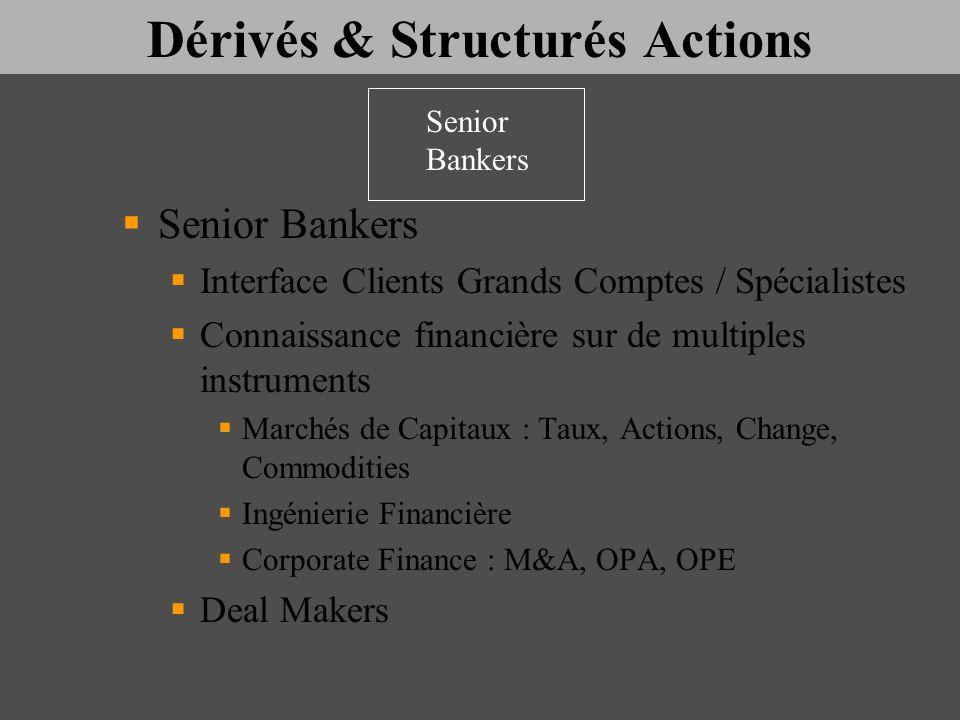Dérivés & Structurés Actions Senior Bankers Interface Clients Grands Comptes / Spécialistes Connaissance financière sur de multiples instruments March