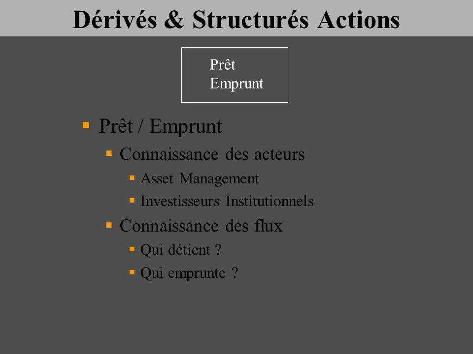 Dérivés & Structurés Actions Prêt / Emprunt Connaissance des acteurs Asset Management Investisseurs Institutionnels Connaissance des flux Qui détient