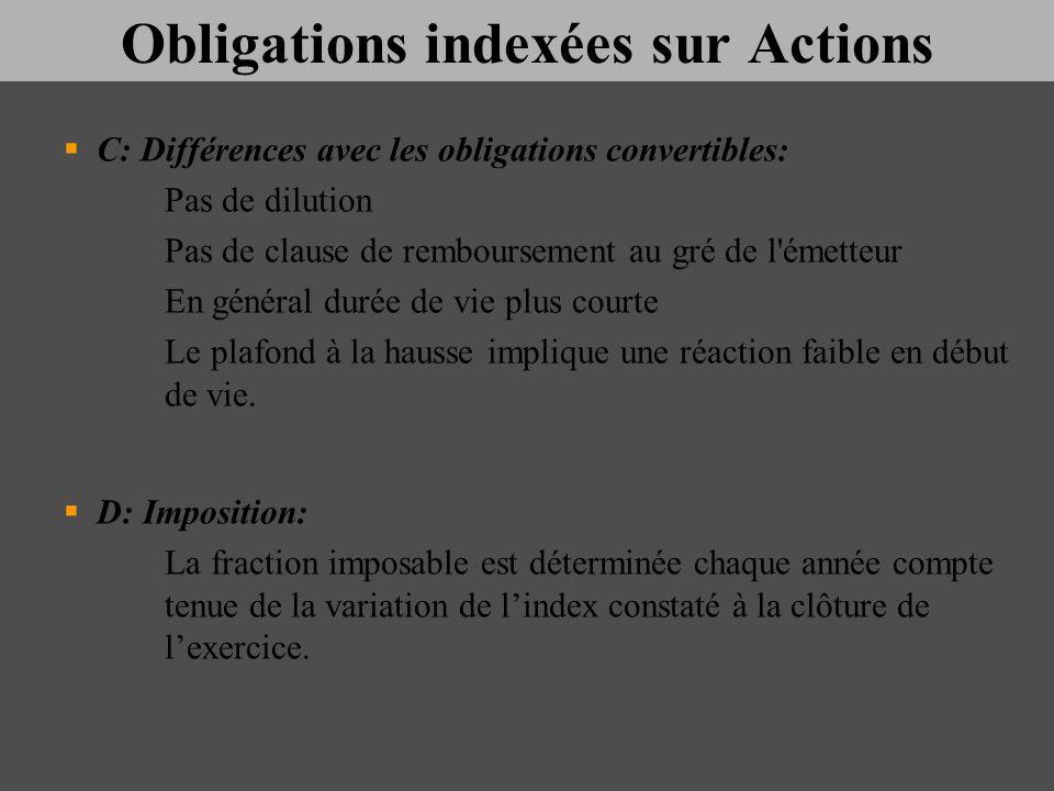 Obligations indexées sur Actions C: Différences avec les obligations convertibles: Pas de dilution Pas de clause de remboursement au gré de l'émetteur