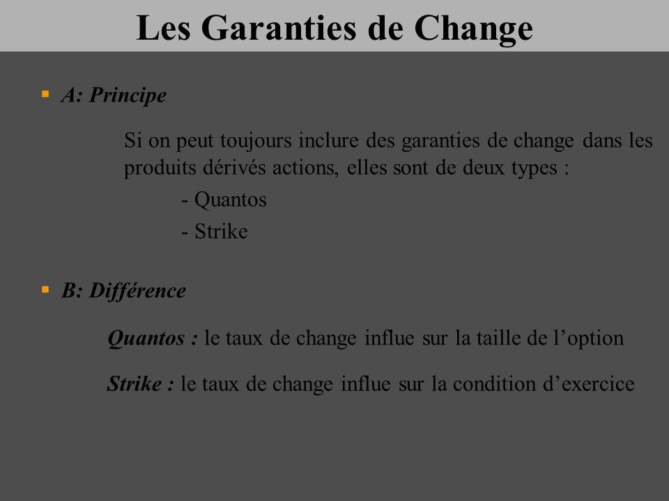 Les Garanties de Change A: Principe Si on peut toujours inclure des garanties de change dans les produits dérivés actions, elles sont de deux types :