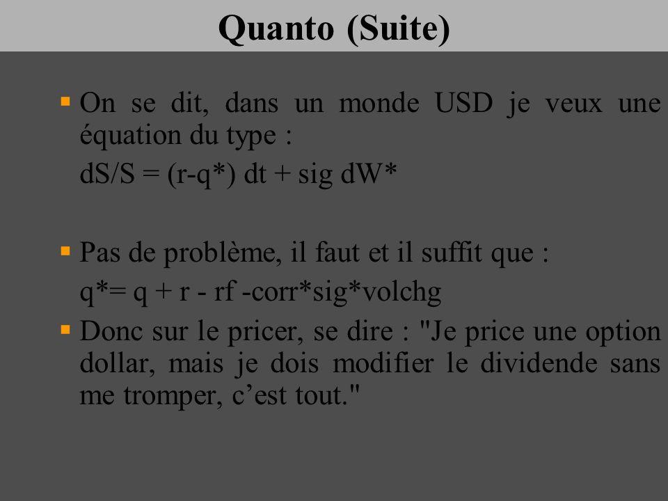 Quanto (Suite) On se dit, dans un monde USD je veux une équation du type : dS/S = (r-q*) dt + sig dW* Pas de problème, il faut et il suffit que : q*=