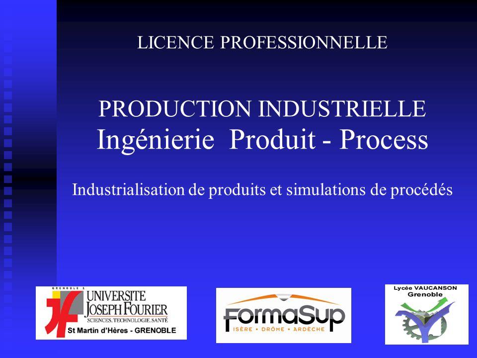 LICENCE PROFESSIONNELLE PRODUCTION INDUSTRIELLE Ingénierie Produit - Process Industrialisation de produits et simulations de procédés