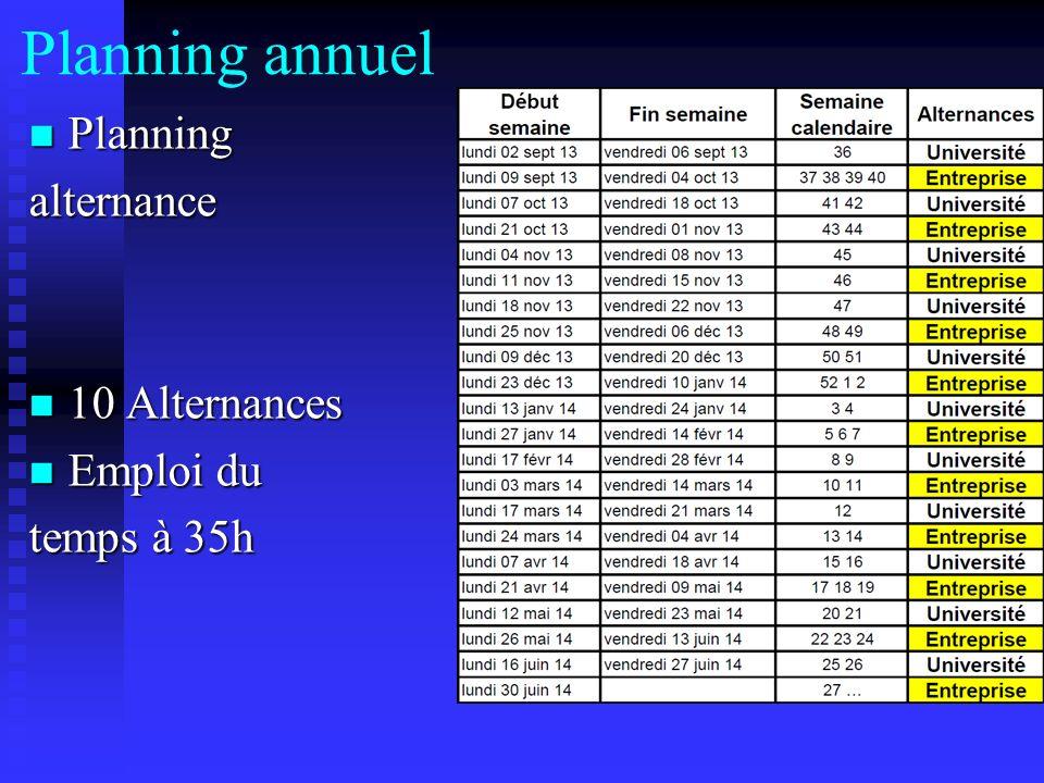 Planning annuel Planning Planningalternance 10 Alternances 10 Alternances Emploi du Emploi du temps à 35h