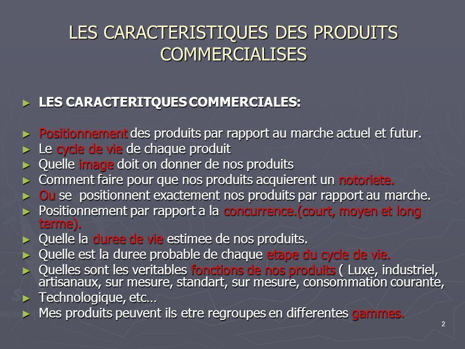 2 LES CARACTERISTIQUES DES PRODUITS COMMERCIALISES LES CARACTERITQUES COMMERCIALES: LES CARACTERITQUES COMMERCIALES: Positionnement des produits par r