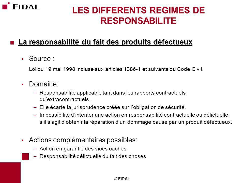 © FIDAL LES DIFFERENTS REGIMES DE RESPONSABILITE La responsabilité du fait des produits défectueux La responsabilité du fait des produits défectueux S