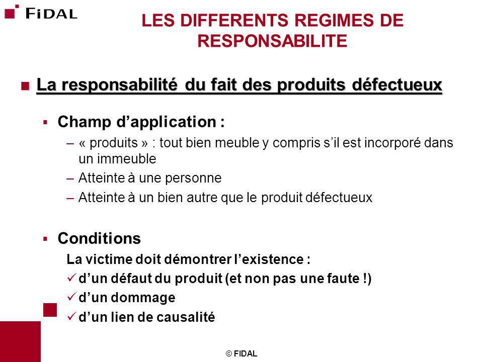 © FIDAL LES DIFFERENTS REGIMES DE RESPONSABILITE La responsabilité du fait des produits défectueux La responsabilité du fait des produits défectueux C