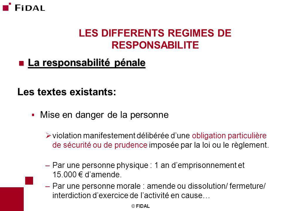 © FIDAL LES DIFFERENTS REGIMES DE RESPONSABILITE La responsabilité pénale La responsabilité pénale Les textes existants: Mise en danger de la personne