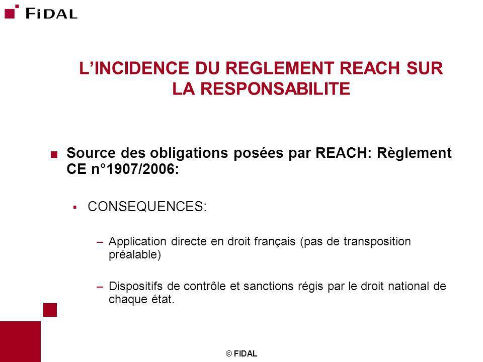 © FIDAL LINCIDENCE DU REGLEMENT REACH SUR LA RESPONSABILITE Source des obligations posées par REACH: Règlement CE n°1907/2006: CONSEQUENCES: –Applicat