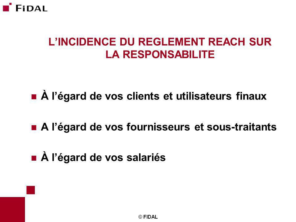 © FIDAL LINCIDENCE DU REGLEMENT REACH SUR LA RESPONSABILITE À légard de vos clients et utilisateurs finaux A légard de vos fournisseurs et sous-traita