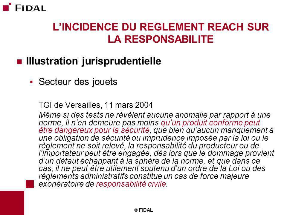 © FIDAL LINCIDENCE DU REGLEMENT REACH SUR LA RESPONSABILITE Illustration jurisprudentielle Secteur des jouets TGI de Versailles, 11 mars 2004 Même si
