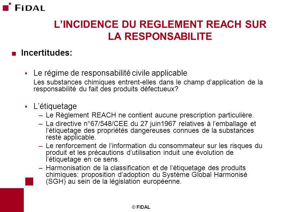 © FIDAL LINCIDENCE DU REGLEMENT REACH SUR LA RESPONSABILITE Incertitudes: Le régime de responsabilité civile applicable Les substances chimiques entre