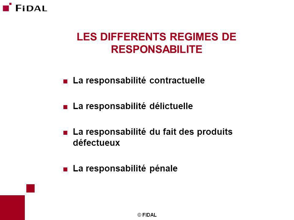 © FIDAL LES DIFFERENTS REGIMES DE RESPONSABILITE La responsabilité contractuelle La responsabilité délictuelle La responsabilité du fait des produits