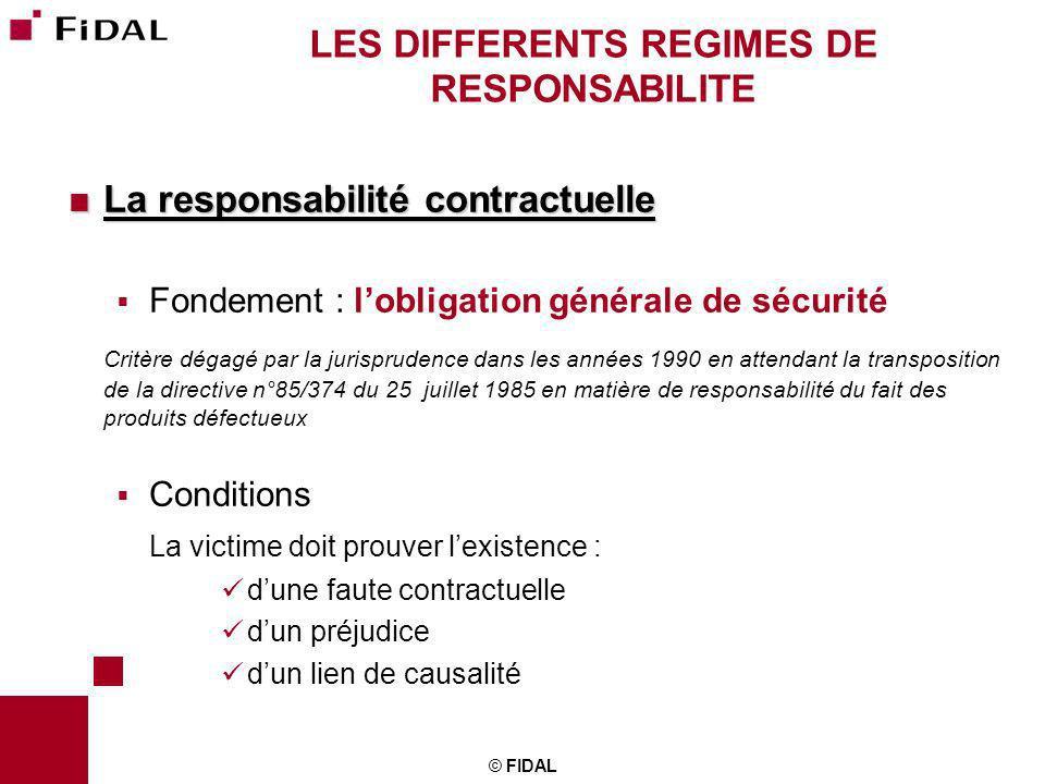 © FIDAL LES DIFFERENTS REGIMES DE RESPONSABILITE La responsabilité contractuelle La responsabilité contractuelle Fondement : lobligation générale de s