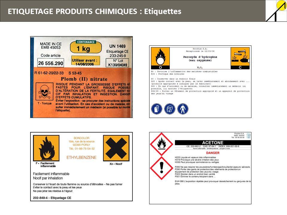 ETIQUETAGE PRODUITS CHIMIQUES : Etiquettes