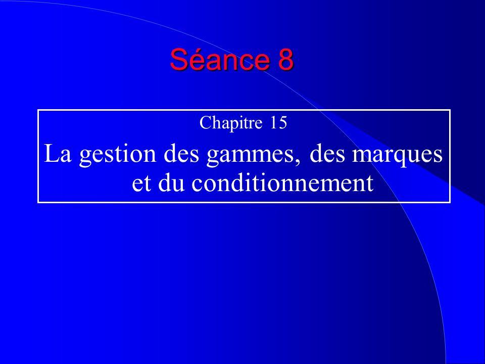 Séance 8 Chapitre 15 La gestion des gammes, des marques et du conditionnement