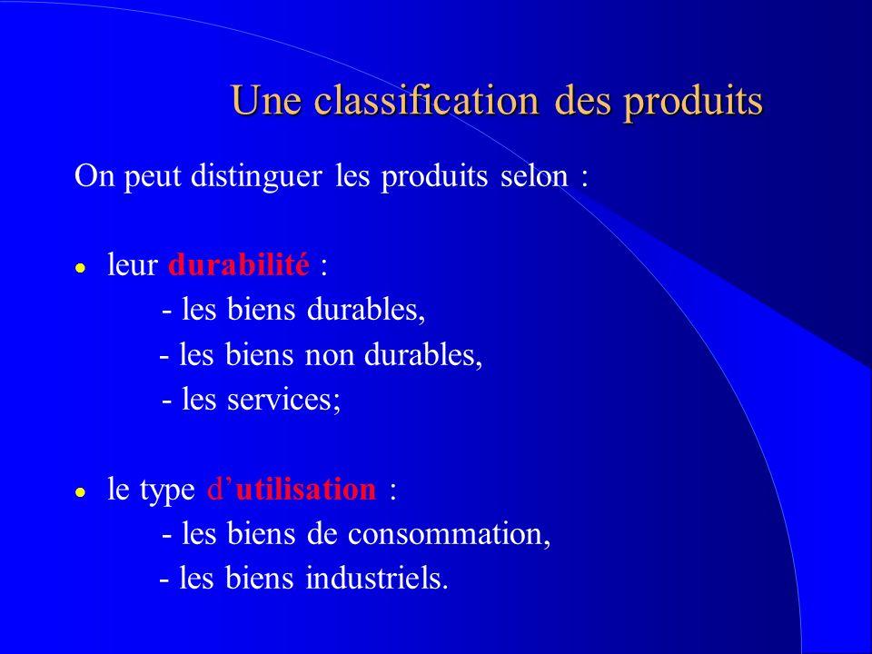 Une classification des produits On peut distinguer les produits selon : leur durabilité : - les biens durables, - les biens non durables, - les servic