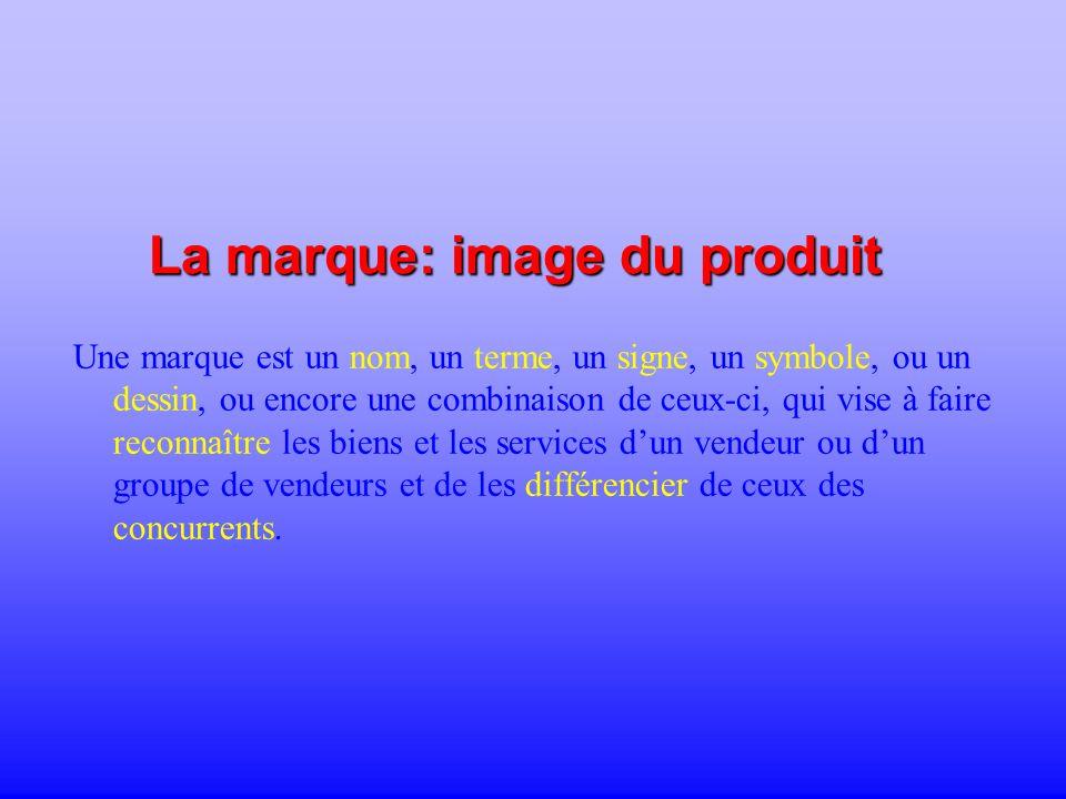 La marque: image du produit Une marque est un nom, un terme, un signe, un symbole, ou un dessin, ou encore une combinaison de ceux-ci, qui vise à fair