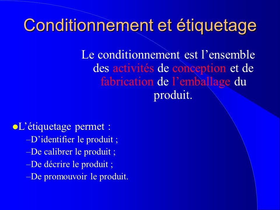 Conditionnement et étiquetage Le conditionnement est lensemble des activités de conception et de fabrication de lemballage du produit. l Létiquetage p