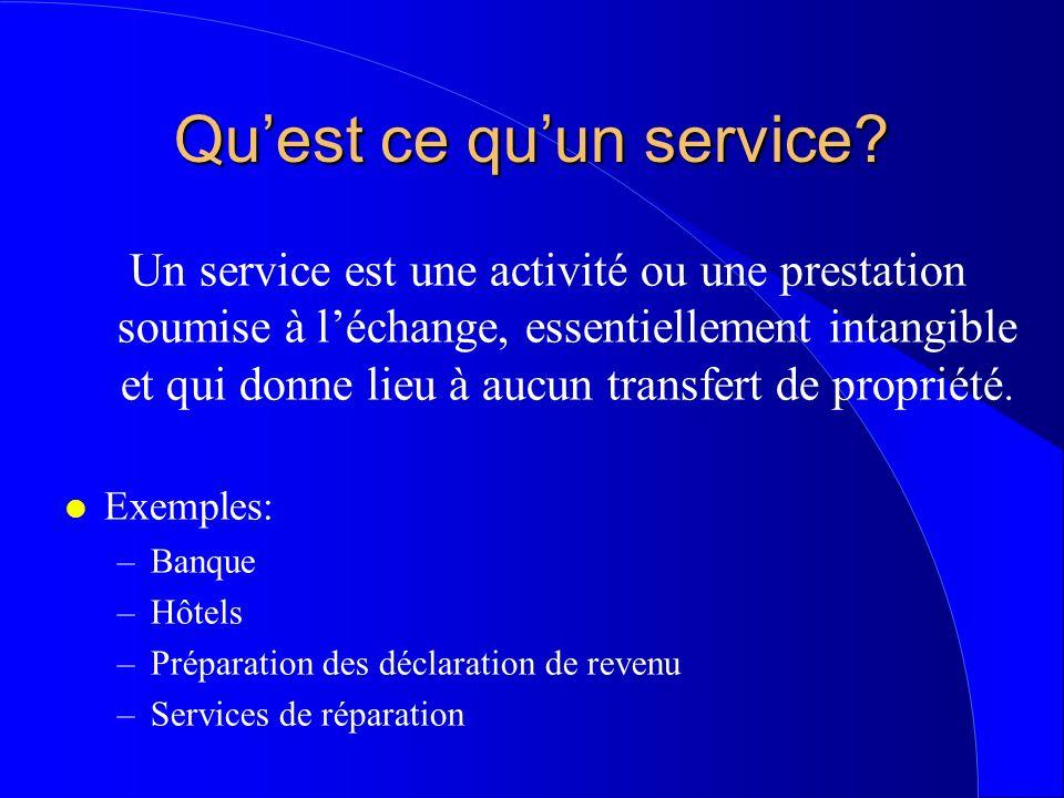 Quest ce quun service? Un service est une activité ou une prestation soumise à léchange, essentiellement intangible et qui donne lieu à aucun transfer
