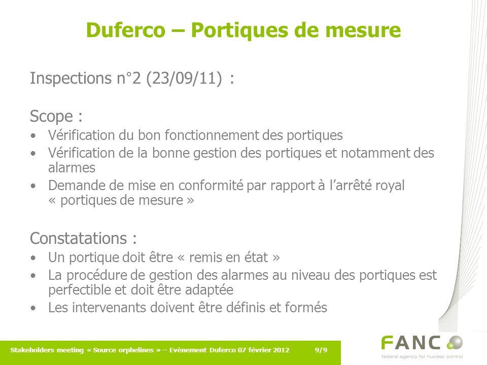 9/9Stakeholders meeting « Source orphelines » – Evènement Duferco 07 février 2012 Duferco – Portiques de mesure Inspections n°2 (23/09/11) : Scope : V