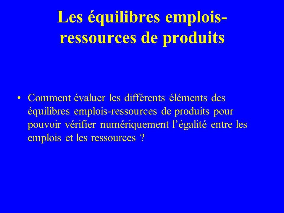 Les équilibres emplois- ressources de produits Comment évaluer les différents éléments des équilibres emplois-ressources de produits pour pouvoir vérifier numériquement légalité entre les emplois et les ressources ?