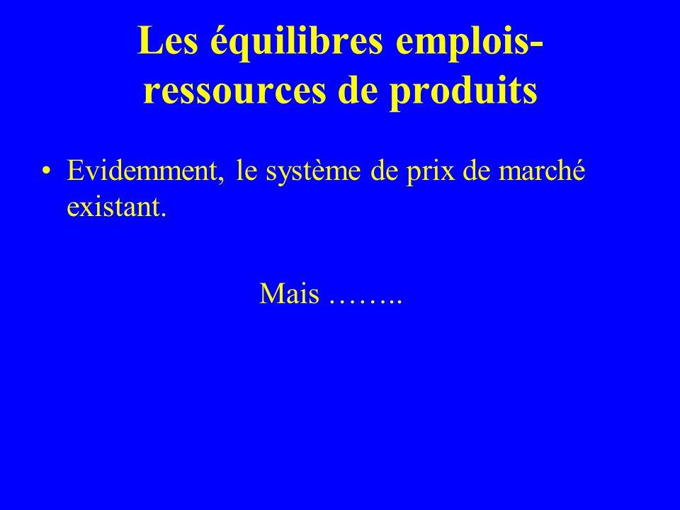 Les équilibres emplois- ressources de produits Evidemment, le système de prix de marché existant.