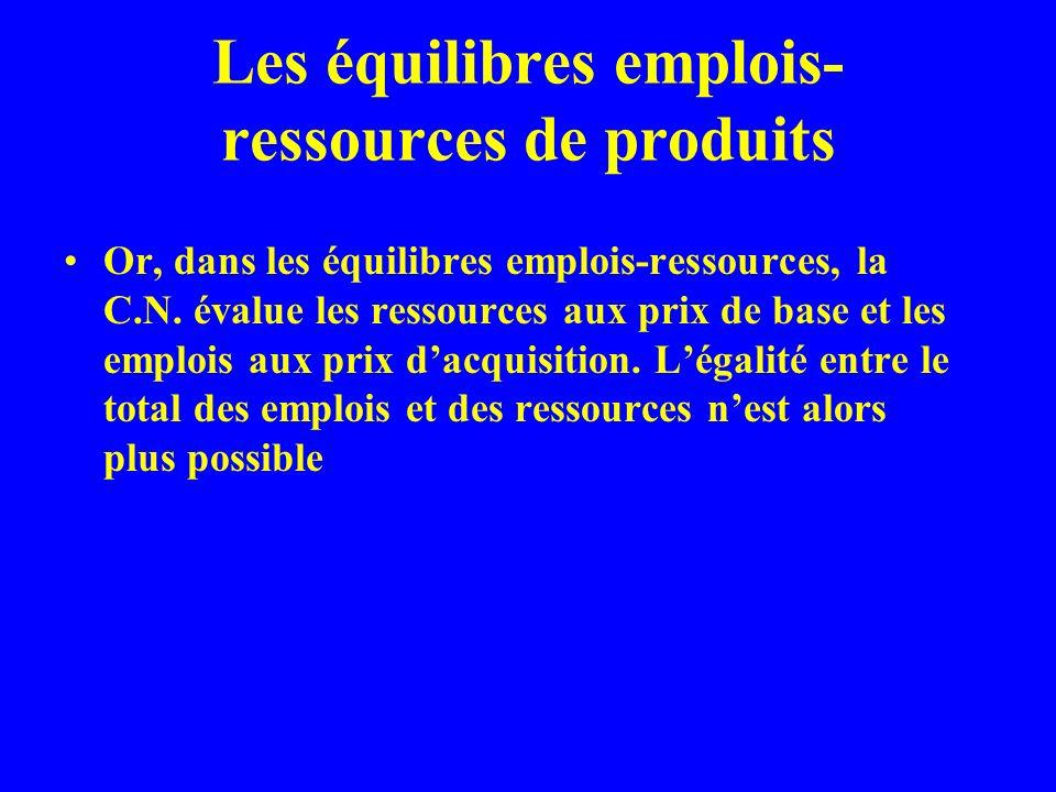 Les équilibres emplois- ressources de produits Or, dans les équilibres emplois-ressources, la C.N.