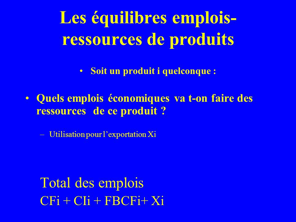 Les équilibres emplois- ressources de produits Pi + Mi = CFi +CIi + FBCi + Xi Toutes les opérations qui apparaissent dans cet équilibre emplois-ressources sont dites « opérations sur produits » pour les distinguer de deux autres catégories dopérations économiques que nous rencontrerons plus tard : -Les opérations de répartition - Les opérations financières