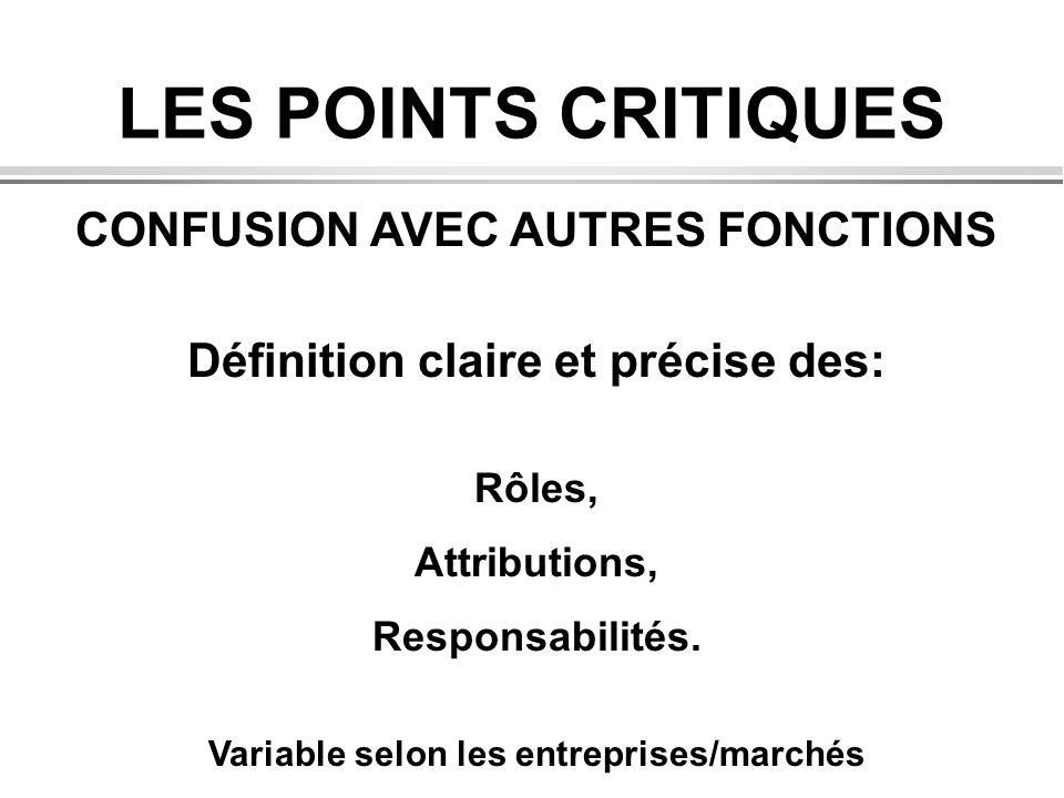 LES POINTS CRITIQUES CONFUSION AVEC AUTRES FONCTIONS Définition claire et précise des: Rôles, Attributions, Responsabilités. Variable selon les entrep