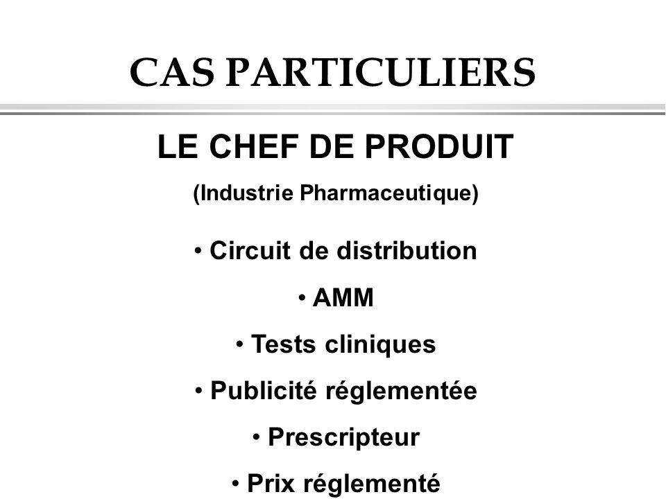 CAS PARTICULIERS LE CHEF DE PRODUIT (Industrie Pharmaceutique) Circuit de distribution AMM Tests cliniques Publicité réglementée Prescripteur Prix rég
