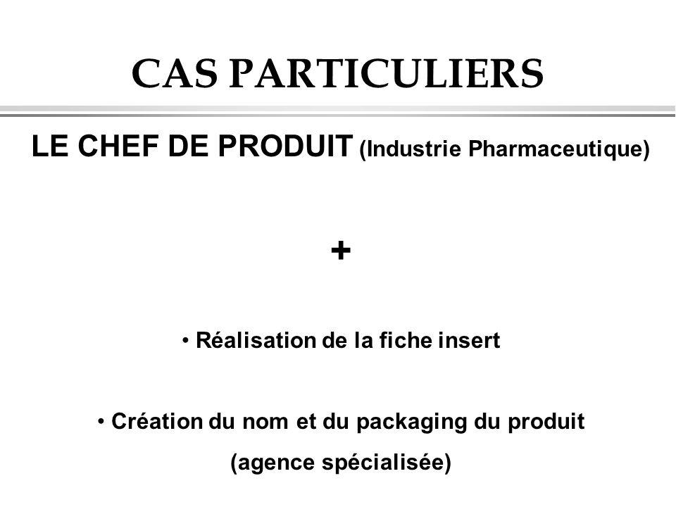 CAS PARTICULIERS LE CHEF DE PRODUIT (Industrie Pharmaceutique) + Réalisation de la fiche insert Création du nom et du packaging du produit (agence spé
