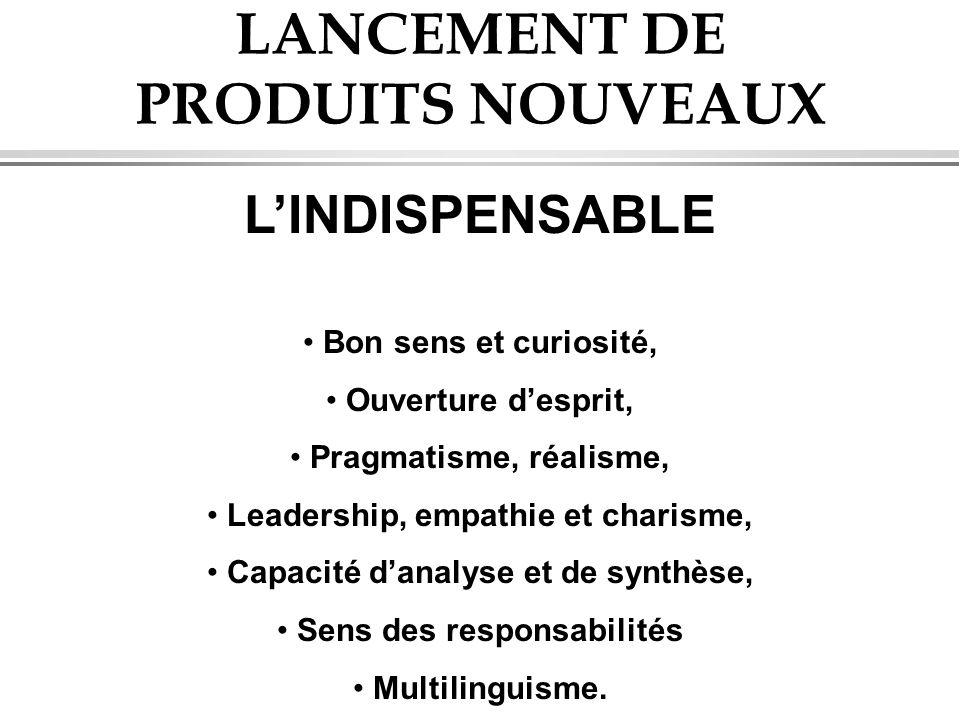 LANCEMENT DE PRODUITS NOUVEAUX LINDISPENSABLE Bon sens et curiosité, Ouverture desprit, Pragmatisme, réalisme, Leadership, empathie et charisme, Capac