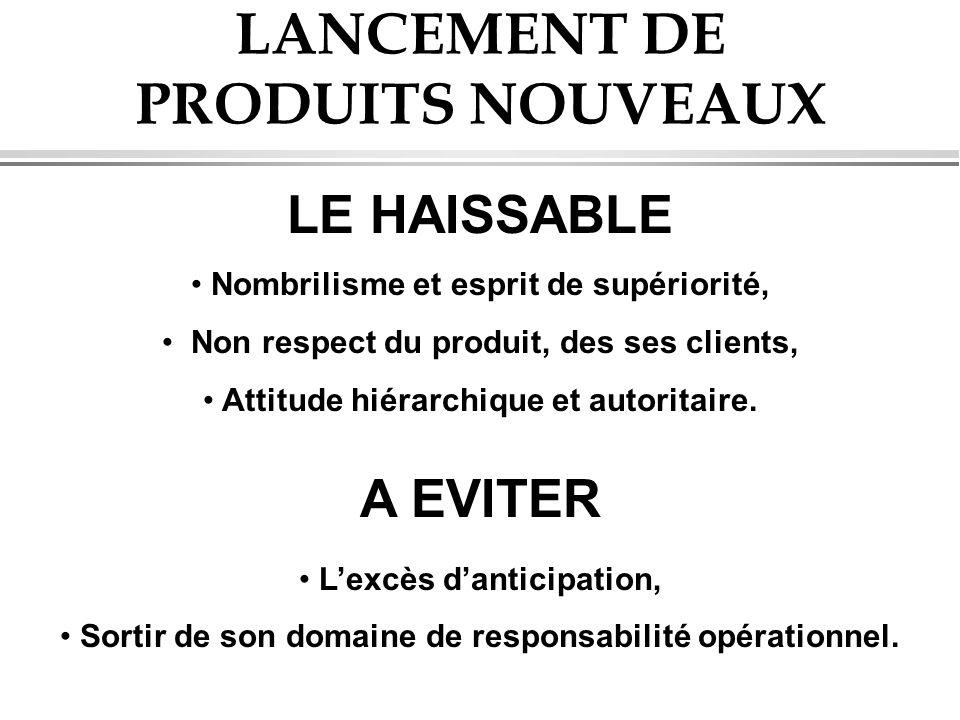 LANCEMENT DE PRODUITS NOUVEAUX LE HAISSABLE Nombrilisme et esprit de supériorité, Non respect du produit, des ses clients, Attitude hiérarchique et au
