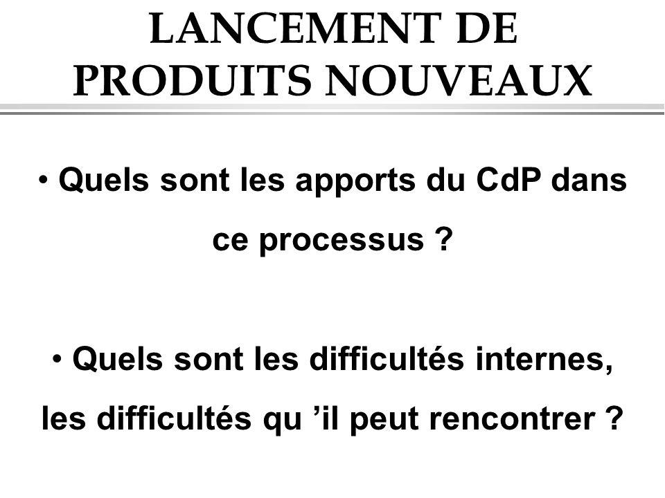 LANCEMENT DE PRODUITS NOUVEAUX Quels sont les apports du CdP dans ce processus ? Quels sont les difficultés internes, les difficultés qu il peut renco
