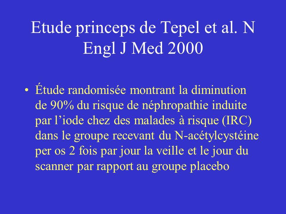 Etude princeps de Tepel et al. N Engl J Med 2000 Étude randomisée montrant la diminution de 90% du risque de néphropathie induite par liode chez des m