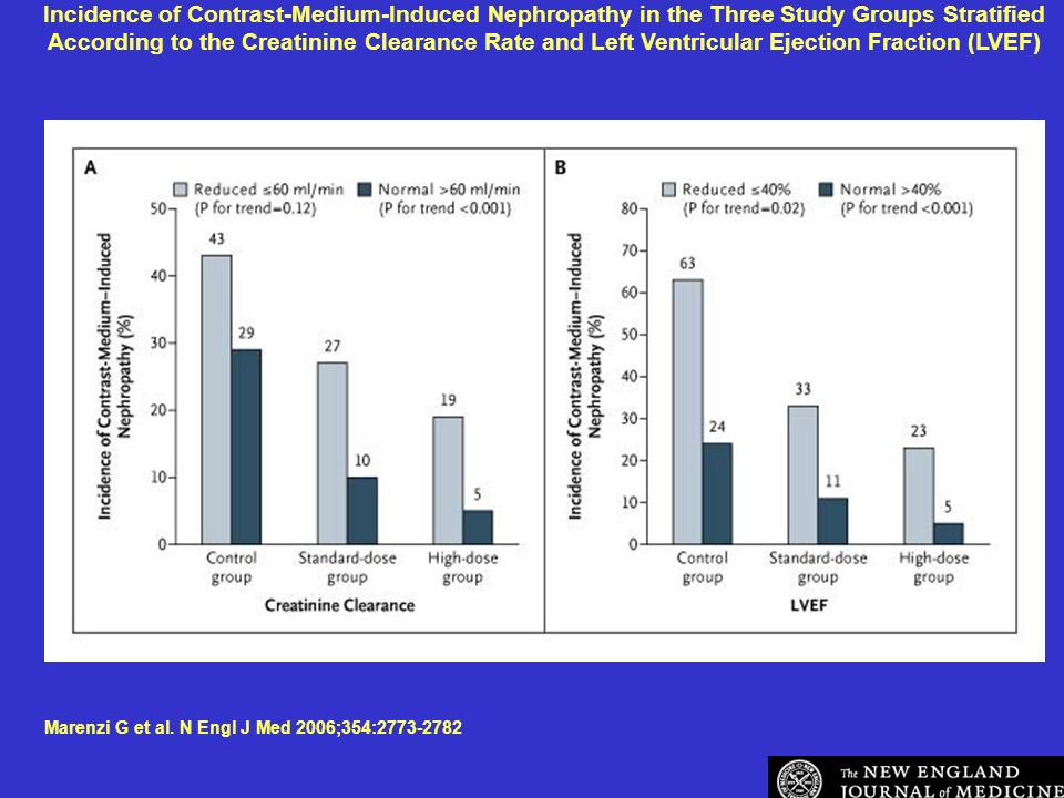 Incidence of Contrast-Medium-Induced Nephropathy in the Three Study Groups Stratified According to the Creatinine Clearance Rate and Left Ventricular Ejection Fraction (LVEF) Marenzi G et al.