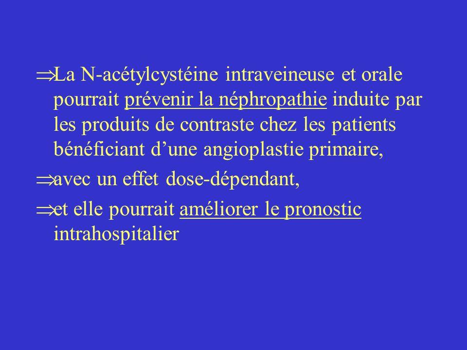 La N-acétylcystéine intraveineuse et orale pourrait prévenir la néphropathie induite par les produits de contraste chez les patients bénéficiant dune