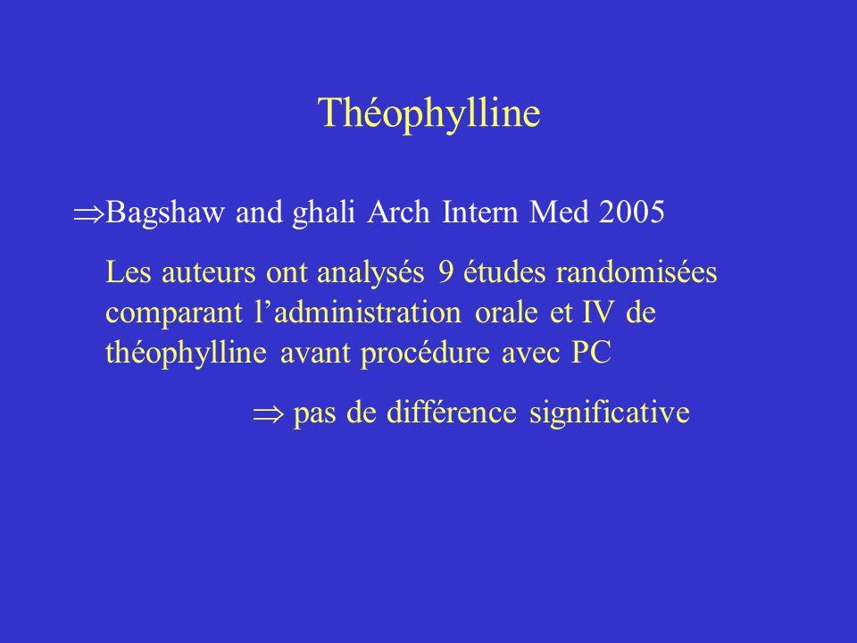 Théophylline Bagshaw and ghali Arch Intern Med 2005 Les auteurs ont analysés 9 études randomisées comparant ladministration orale et IV de théophyllin