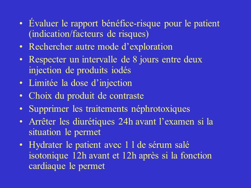 Évaluer le rapport bénéfice-risque pour le patient (indication/facteurs de risques) Rechercher autre mode dexploration Respecter un intervalle de 8 jo