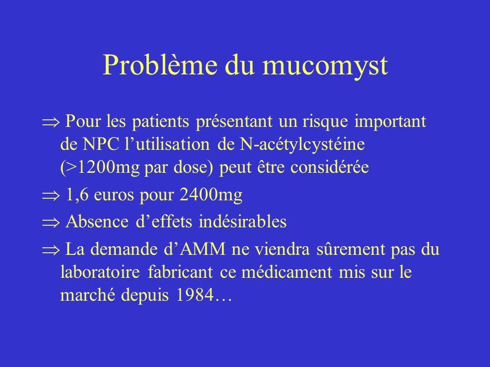 Problème du mucomyst Pour les patients présentant un risque important de NPC lutilisation de N-acétylcystéine (>1200mg par dose) peut être considérée