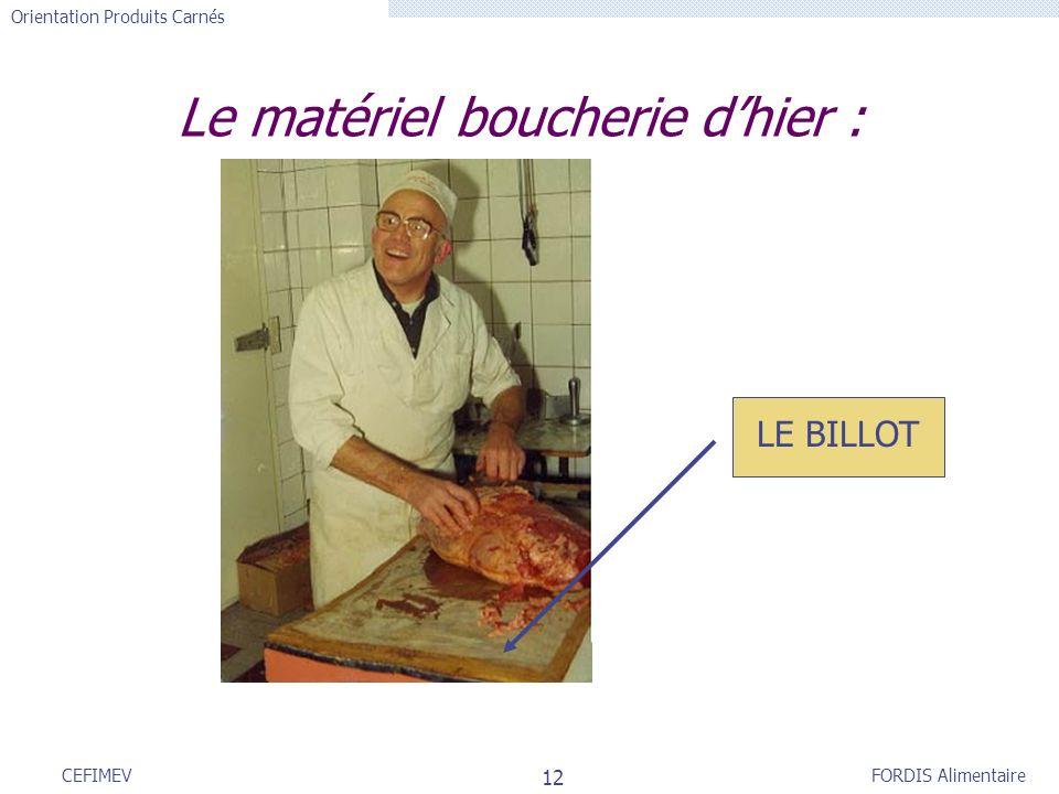 FORDIS Alimentaire Orientation Produits Carnés 12 CEFIMEV Le matériel boucherie dhier : LE BILLOT