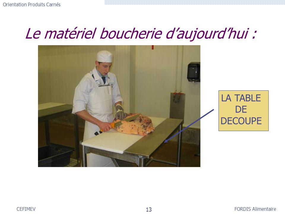 FORDIS Alimentaire Orientation Produits Carnés 13 CEFIMEV Le matériel boucherie daujourdhui : LA TABLE DE DECOUPE