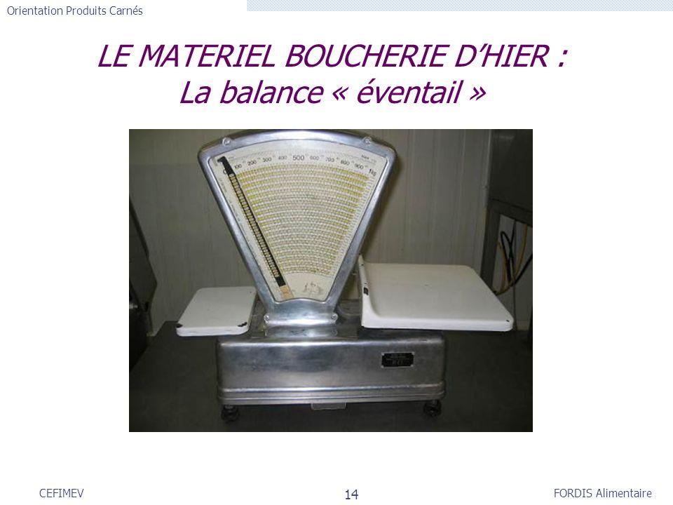 FORDIS Alimentaire Orientation Produits Carnés 14 CEFIMEV LE MATERIEL BOUCHERIE DHIER : La balance « éventail »